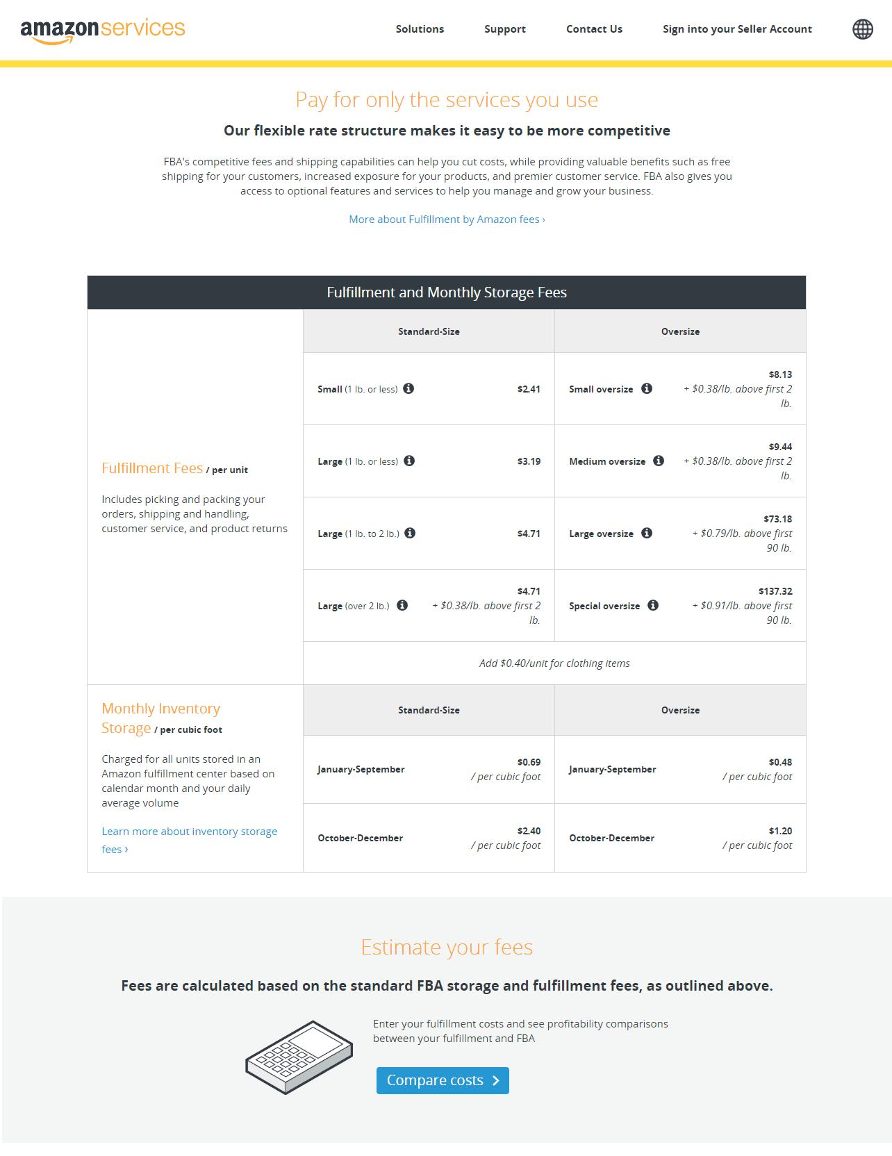 Monatliche Speichergebühr für Amazon FBA Calculator