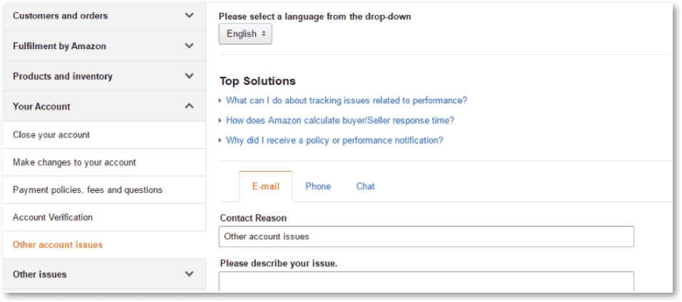 Image showing the section within Amazon Seller Central to contact the Support team.